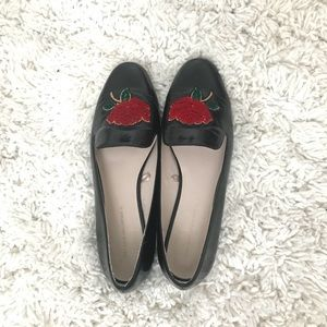 Black flats from Zara with rose embroidery.